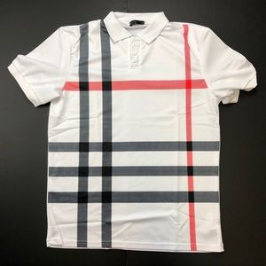 Other - Pink n' Black Striped White Polo Tee